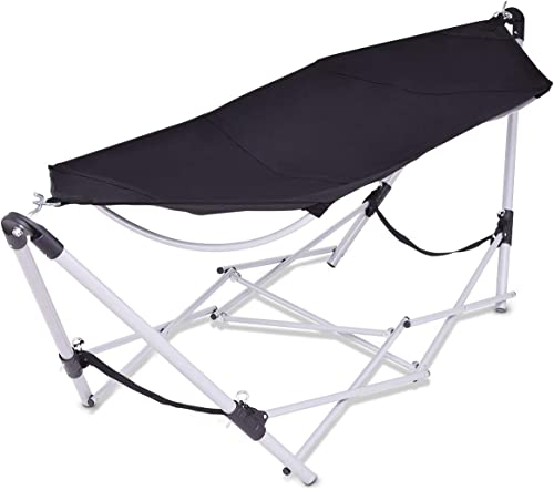discount Giantex discount Portable Folding Hammock Lounge Camping Bed Steel Frame Stand new arrival W/Carry Bag (Black) outlet sale