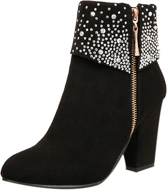 Women Sneakers Slip On White, Ankle Boots For Women High Heel, Elegant Round Toe Zipper Short Booties Outdoor Keep Warm Mid-Calf Boots Flat Heels, Waterproof Thick Heel
