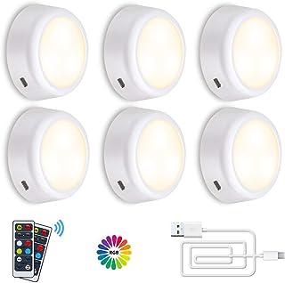 Luz Nocturna LED, SOLMORE Luz de Armario W+RGB 6 Packs Inalámbrica LED Lámpara de Cocina LED Lámpara Adhesiva Inalámbrica Batería Blanca Cálida con 2 Control Remoto Vitrina Armario Pasillo