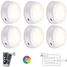 Onder Kabinet Verlichting SOLMORE Oplaadbare RGB Dimbare LED Kast Verlichting Nachtverlichting met Afstandsbediening, Timi...