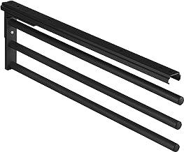 Gedotec Handdoekhouder uittrekbaar bad & keukenkast handdoek uittrekbaar 90° - H6008 | zwart | theedoekenhouder 3-arm | le...
