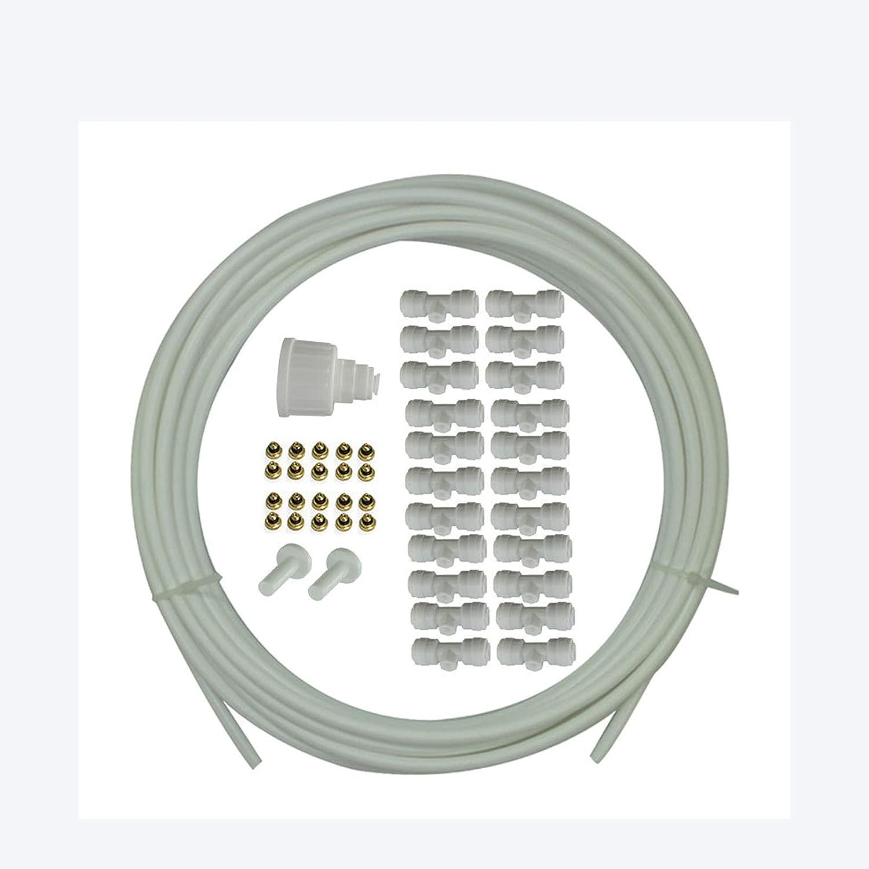 Kit de Riego por Goteo para Patio Sistema de Enfriamiento por Nebulización Kit de Nebulización para Plantas de Patio, Aspersor para Jardín, Invernadero (Blanco)
