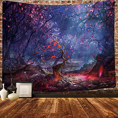 Simsant Natural Scenery Tapestry Forest Trees Night Sky Cherry Blossoms Falling Frozen Scene Wall Mounted Tapestry 80x60inch Oversized Bedroom Living Room Wall Decoration Tapestry GTHXSI453