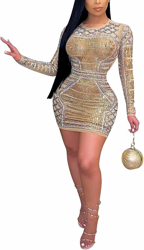 GEMEIQ Womens Sexy Sheer Mesh See Through Glitter Deep V Neck Long Sleeve Drawstring Cocktail Party Bodycon Mini Dress