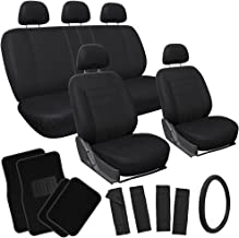 OxGord Flat Cloth Seat Cover and Carpet Floor Mat Set - Car, Truck, SUV, Van - Airbag Compatible, Split Bench, Steering Wheel Cover Included - Black