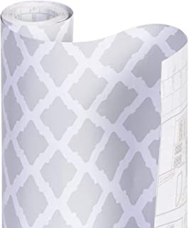 Smart Design Shelf Liner w/Adhesive - Wipes Clean - Cutable & Removable Material - Easy Peel Design - Shelves, Drawers, Flat Surfaces - Kitchen (18 Inch x 20 Feet) [Metro Gray Lattice]