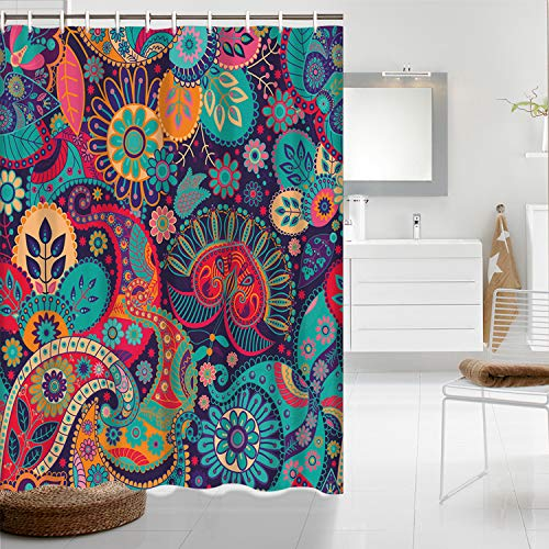 """Mandala Shower Curtain Waterproof Indian Bohemian Colorful Arabesque Shower Curtain Sets for Bath Room Curtain Decor with Hooks (70"""" W×78"""" H)"""