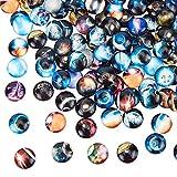 PandaHall 200pcs 12mm Sternenhimmel Glaskuppel Cabochons Mischfarbe Halbrunde Cabochons Mosaik Gedruckte Bildfliese für Fotoanhänger Schmuckherstellung
