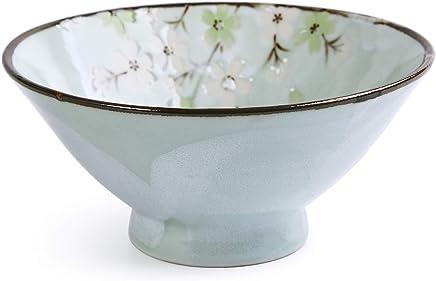 Preisvergleich für KOIYAKI Japan Porzellan mit grüne Blütenkirsche Schale/Schüssel für Obst, Reis, Suppen, Nachtisch, Müsli Ø 15.2cm H. 7cm(10025)