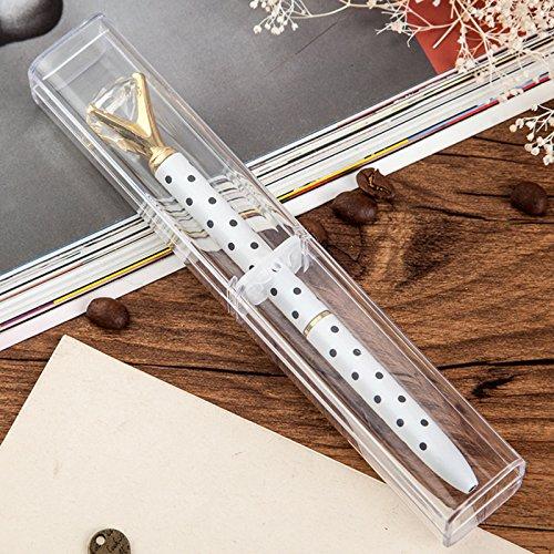 Gold Pen, Gold Ballpen with Big Diamond/Crystal, Metal Ballpoint Pen Gold Office Supplies, Black Ink - HVS (White on Black Polka Dots)