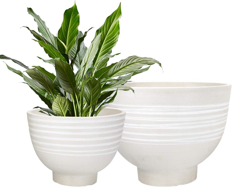 Flower Pots Indoor Outdoor   Garden Planters, Decorative Planters Pots,  Round Wood Texture, White 8.8 + 8.8 Inch