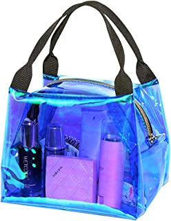 Magicbags Holographic Clear Purse,Fashion Shining Samll Clear Tote Bag for Women and Girls, Waterproof PVC Transparency Beach Handbag