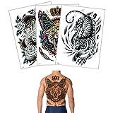 3 Sheets Temporary Waterproof Big Full Back Tattoo Sticker for Women Men Body Makeup Sexy