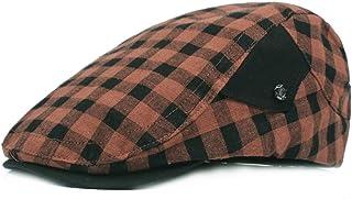 2019 Women Grid Peaked Cap for Unisex Cotton Adjustable Flat Cap Duckbill Newsboy Hat 57-59cm (Color : 2, Size : Free Size)