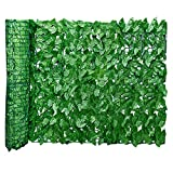 GoldCister Artificial Leaf Screening, Expanding Trellis Fence Roll With Ivy Leaves, UV Fade Protected Privacy Hedging Wall Landscaping Garden Fence Balcony Screen 3(L) X0.5(W) m