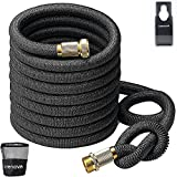 CRENOVA 50ft Extendable Hose Garden Hose with Double Latex Core, Solid Brass Connector and Extra...