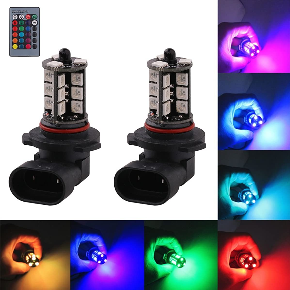 1797 9006 HB4 LED RGB Fog Lights Bulb Amber Yellow White Multicolor 16 Color Changing Switch Kit Strobe Lamp Bulbs for Car Trucks Remote Control Switch Error Free Plug and Play 12V 5050SMD Replacement