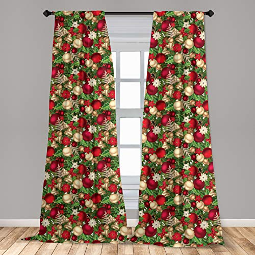 Ambesonne Christmas Curtains, Tree Branches Spruce Leaves Balls Bells Cones Poinsettia Flowers Mistletoe Berry, Window Treatments 2 Panel Set for Living Room Bedroom Decor, 56' x 84', Ruby Green