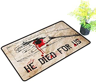 Non-Slip Door mat Quote Bloody Hand Crucified in Drawing Style Calvary Death Cross Redemption Theme W35 xL59 Durable Tan Scarlet Black