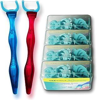 T.Smile 3rd Generation Dental Flosser 1 Handle 100 Extra Strength Strength Floss، Evolutionary Clean، بسته 2 عددی