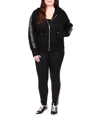 MICHAEL Michael Kors Plus Size Logo Stripe Zip Hoodie