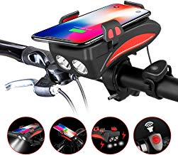 4 in 1 Bike Phone Mount Bicycle Handlebar Holder with LED Light & Horn & 4000MAH Rechanger Battery Adjustable for iPhone Xs Max XR X 8 Plus Samsung Galaxy S10 S9 S8 S7 Below 6.3""