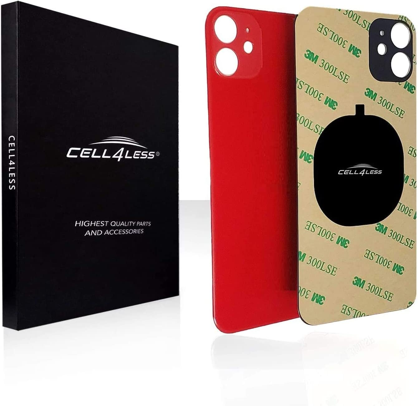 Cell4less Back Glass Compatible with The iPhone 11 Back Glass Replacement W/Full Body Adhesive, Removal Tool, and Wide Camera Hole for Quicker Installation