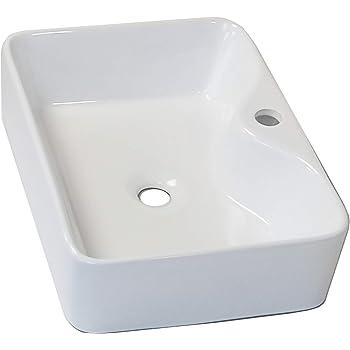 Mocoloo 21X14 Modern Rectangle Countertop Vessel Sink White Porcelain Ceramic Lavatory Vanity Sink Above Counter Basin Bathroom Vessel Sink Rectangular