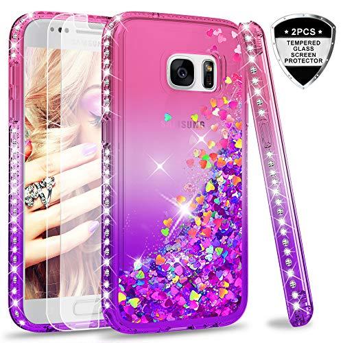 LeYi Hülle Galaxy S7 Glitzer Handyhülle mit Panzerglas Schutzfolie(2 Stück),Cover Diamond Rhinestone Bumper Schutzhülle für Case...