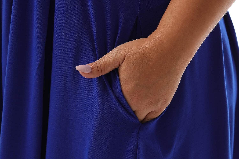 Nemidor Womens Casual Print Summer T Shirt Dress Plus Size Loose Sleeveless Swing Dress with Pocket