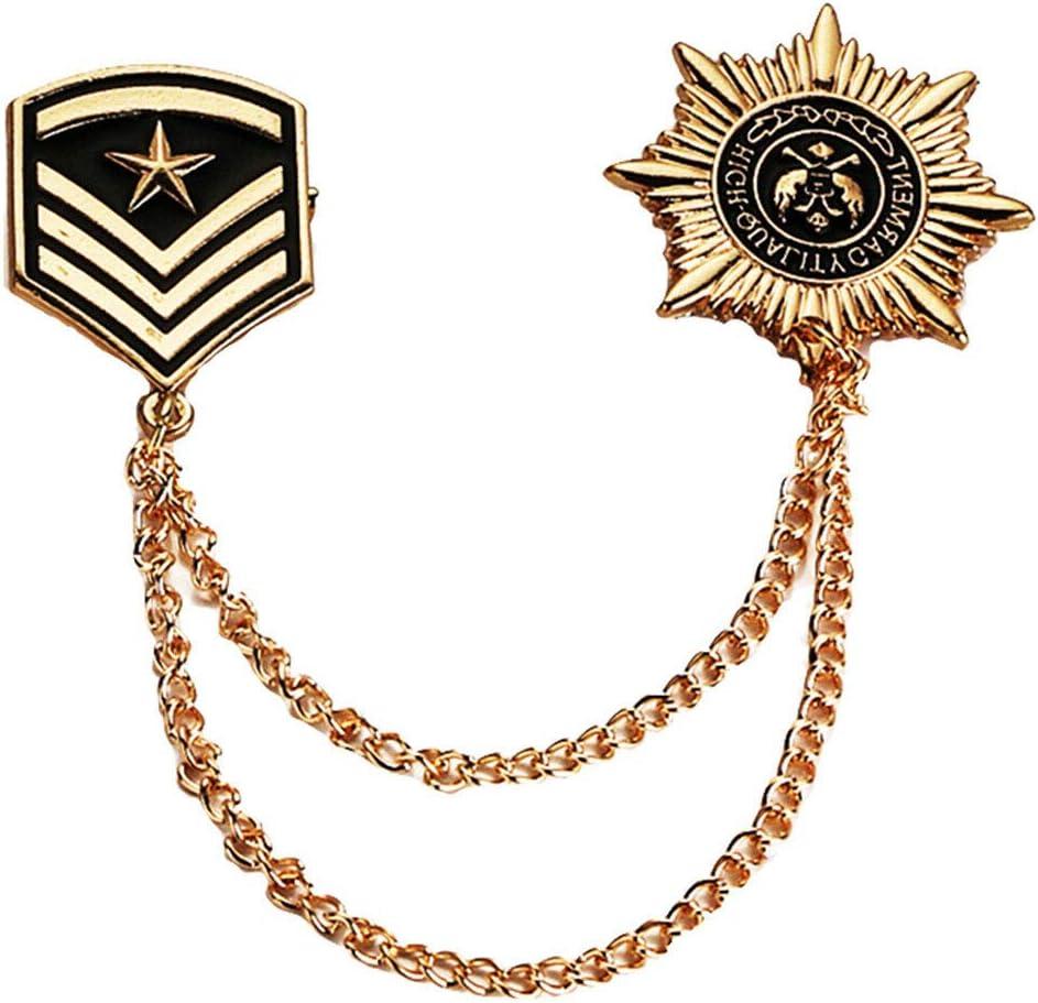 Stylish Men's Stars Shield Tassel Lapel Pin Collar Pin Shirt Stud Brooches