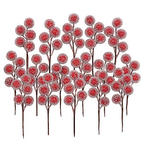 Artificial Red Holly Leaves Berry Picks Stems Fake Winter Christmas Berries Decor for DIY Garland and Holiday Wreath Ornaments, 16 Branch by Bilipala