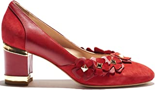 Indiano Pelletteria Blossom- Round Toe Pump in Scarlet