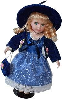 Perfeclan 30cm Lovely Porcelain Doll Victorian Girl Retro Dark Blue Skirt & Hat Decor