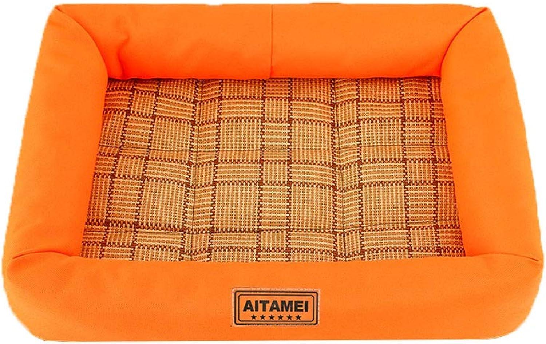 Rattan Pet Kennel, Home Green Small Medium Dog Bed Durable Oxford Cloth Cat Mat NonSlip Pet Supplies (color   orange, Size   77×62×9cm)