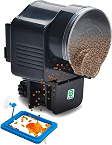 Auto Fish Feeder Aquarium Auto Turtle Feeder,Moisture-Proof Electric Feeder Food Timer Dispenser for Vacation, Suitable for Such As Betta, Tortoise,Goldfish and Eagle with Fish Feeding Ring