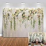 Avezano 2.2x1.5m Fleur blanche mur toile de fond rideau floral fleur mer photographie fond pour mariée mariage infantile nouveau-né bébé douche fête d'anniversaire Photo Studio accessoires