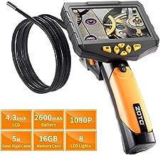 Industrial Endoscope,ZOTO 1080P Full HD 4.3 inch LCD Digital Inspection Camera with 5 Meters Semi-Rigid Tube 2600mAh Battery 16GB Memory DVR Waterproof Borescope Snake Camera (16.4 FT) (Black)