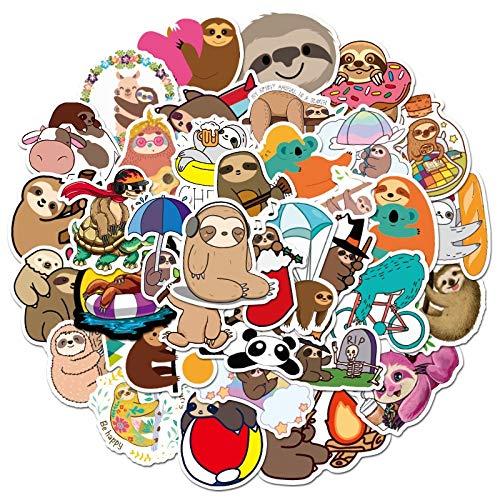 WUWEI El Paquete de Pegatinas de Animales Perezosos Disfruta de Momentos Divertidos, Pegatinas de Dibujos Animados Bonitos para niños, álbum de Recortes, Bicicleta, portátil, Coche, 50 Uds.
