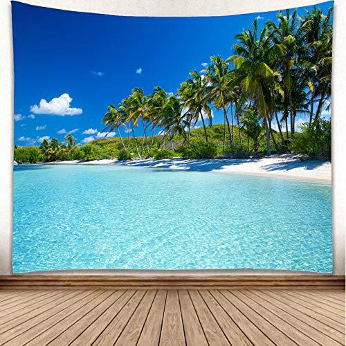 YISURE - Arazzo da parete con palma di cocco, 230 x 180 cm, blu cielo chiaro, piscina oceanica, per camera da letto