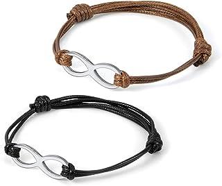 Zysta, bracciale regolabile con simbolo dell'infinito, in pelle, per uomo e donna