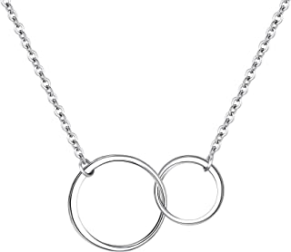 Mother Daughter Necklace Sterling Silver Infinity Interlocking Double Circles Friendship Sister Necklace