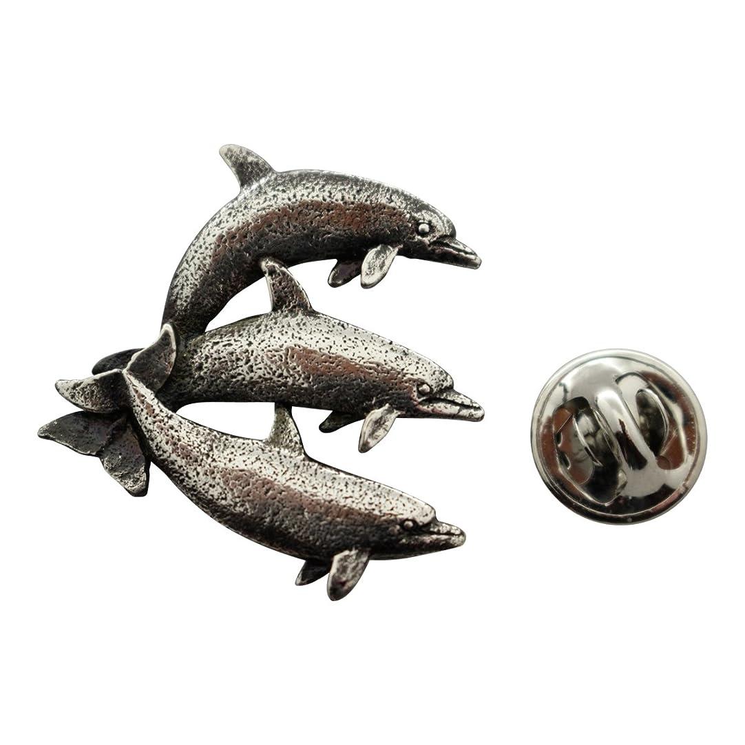 素子上げる付添人Three Dolphinsピン~アンティークピューター~ラペルピン~サラのTreats & Treasures