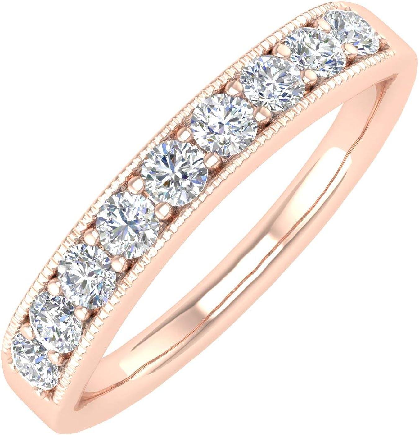 1/2 Carat 14K Gold Round Diamond Ladies Anniversary Wedding Band Ring