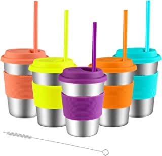 Stainless Steel Cups with Lids and Straws, Spnavy 5 Pack 12 OZ Stackable Metal Drinking Glasses for Kids Toddlers Adults Unbreakable Pint Cup Tumblers for Travel, Outdoor, Camping, Everyday Use