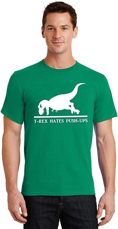 Nouveauté T Shirt T-Rex Hates Push Ups Slogan Gym Dinosaure Work Out