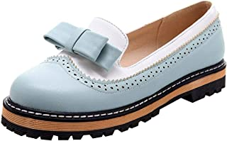 Padaleks Women's Bowknot Decorated Penny Loafers Platform Flats Low Heels Round Toe Casual Daily Dressy Shoes