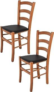 Tommychairs - Set 2 sillas Venice para Cocina y Comedor, Estructura en Madera de Haya Color Cerezo y Asiento tapizado en Polipiel Color Negro