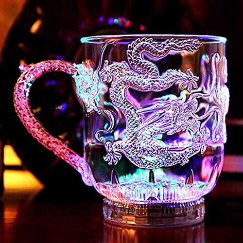 VEADK boccale LED Flash Magia Cambia colore Dragon Cup Attivato con acqua Light-Up Birra Caffè Latte Tè Vino Whisky Bar Tazza da viaggio Regalo creativo, Trasparente
