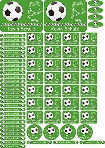 INDIGOS UG® Namensaufkleber Sticker - A4-Bogen - 012 - Fußball - 69 Sticker für Kinder, Schule und Kindergarten - Stifte, Federmappe, Lineale - auch für Erwachsene - individueller Aufdruck